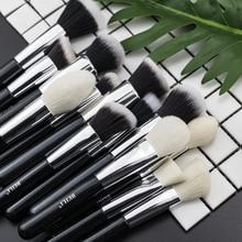 BEILI czarne pędzle podkład do makijażu puder do brwi naturalne kozie włosy do oczu mieszanie 30 sztuk profesjonalne brochas maquillaje