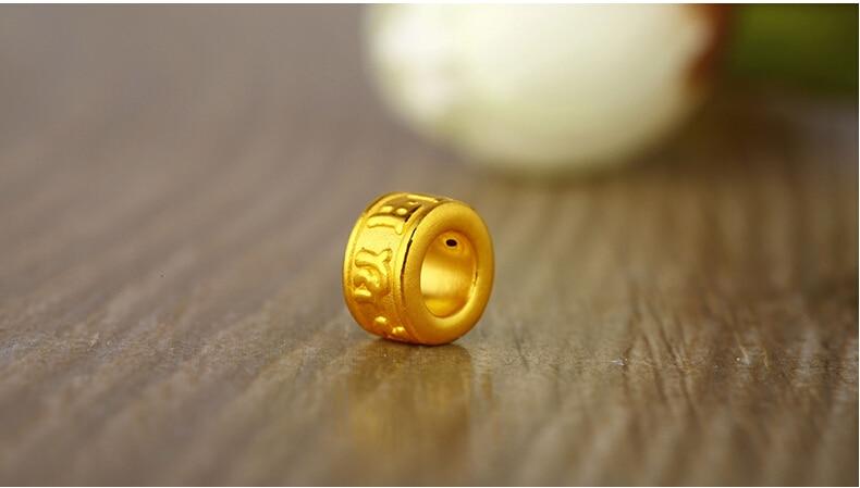 Pure 999 24K Yellow gold Carved Buddha Beads Pendant 0.71g pure 24k yellow gold natural jadeite carved dragon phoenix pendant