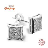 Square 925 Sterling Silver Earrings High Quality Zircon Mosaic Jewelry High Quality Fine Jewelry