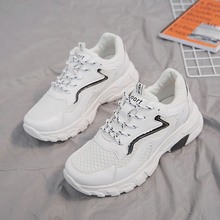 Moxxy 2019 New White Sneakers Women Shoes Thick Sole Platform Casual Female Mesh Trainers Tenis Femme
