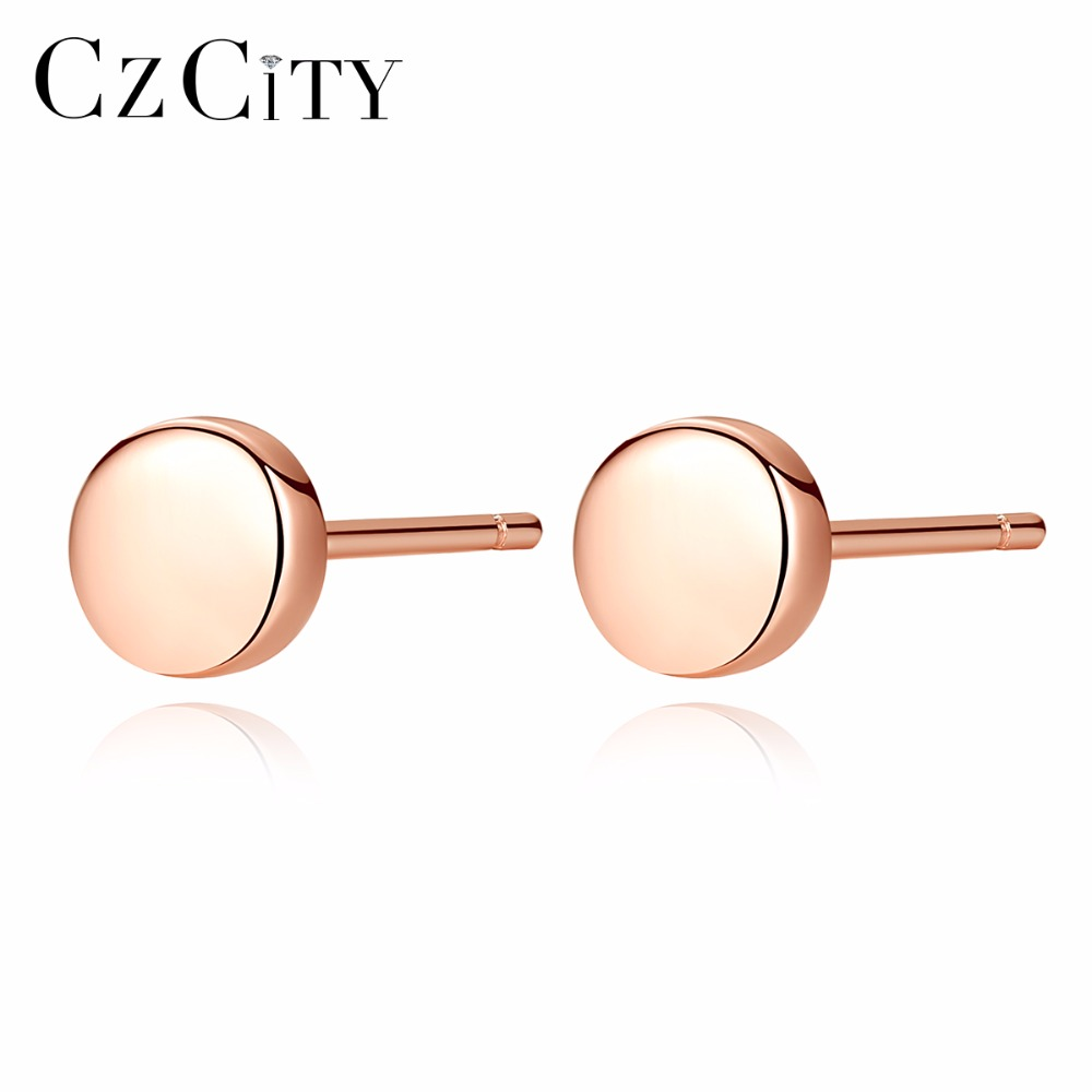 CZCITY Korean 925 Silver Stud Earrings Minimalist Style Small Round 925 Sterling Silver Delicate Round Ear Stud For Party Gift