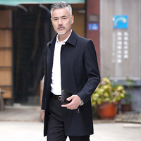 Classic formal business trench coat middle age men turn down collar wash and wear outerwear new 2019 spring autumn