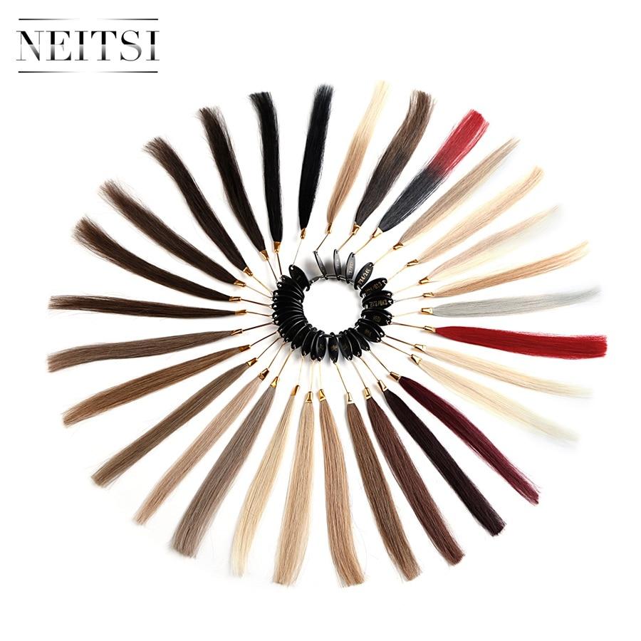 Neitsi волосы remy Цвет кольца/цвет диаграммы 30 цветов доступны человеческие волосы могут быть окрашены для салонного образца