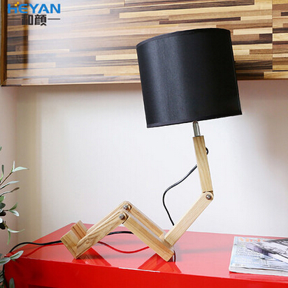 Modern Home Decoration Small Wood Person Table Lamp Bed Llight Folding Child Lamp Study Light  Free Shipping free shipping modern dining table designs discount lamp shades
