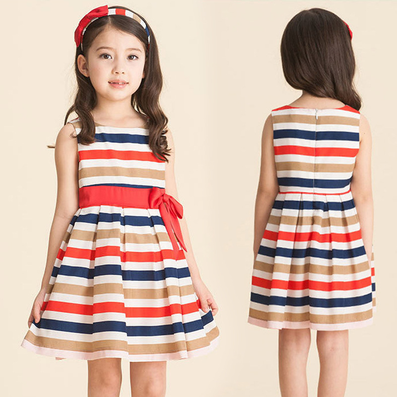 2015 new fashion baby Girls dresses autumn summer Teenage princess rainbow vestidos christmas dress elsa tutu bow kids clothing