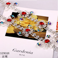 Factory Outlet Perfect Neutral All Match Double Row Crystal Stone Cup Chains With Butterfly 1yard Lot