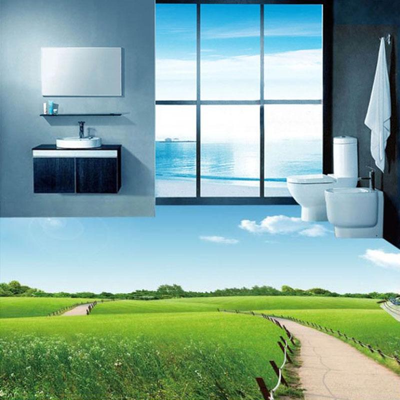 US $17.7 41% OFF|Benutzerdefinierte 3D Foto Tapete Badezimmer Wiese Blauen  Himmel Weiße Wolken 3D Boden Aufkleber Wandbild PVC selbstklebende Tapete  ...