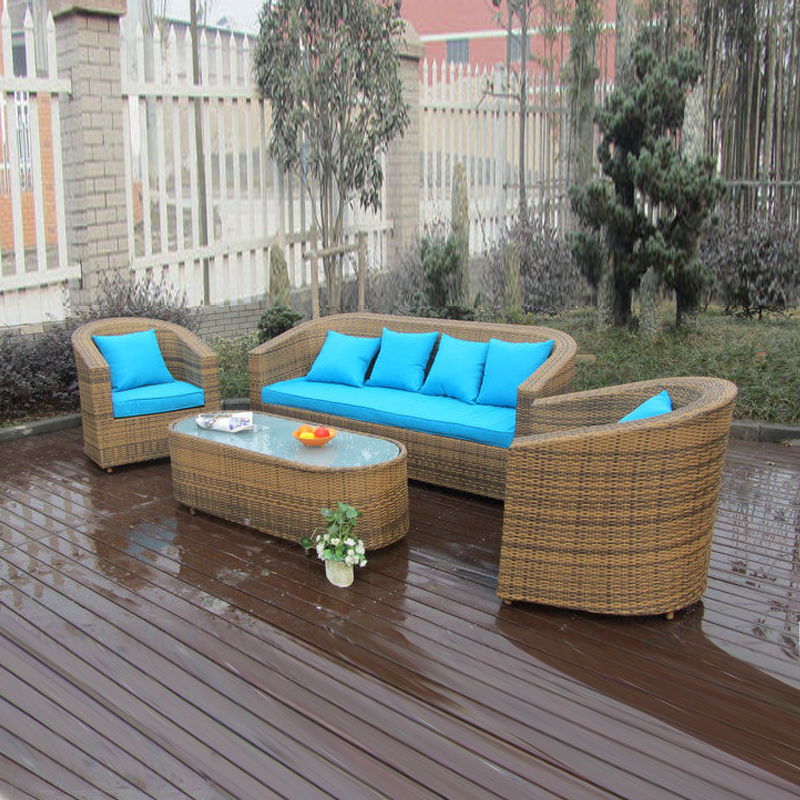 4-pcs garden rattan sofa set Pastoralism Home Indoor / Outdoor Rattan Sofa For Living Room home rattan sofa set furniture wicker sofa set for living room