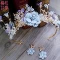 2016 blue Flower Bridal Headband Handmade Wedding Hair Vine Tiara Accessories Women Headpiece bridal hair jewelry