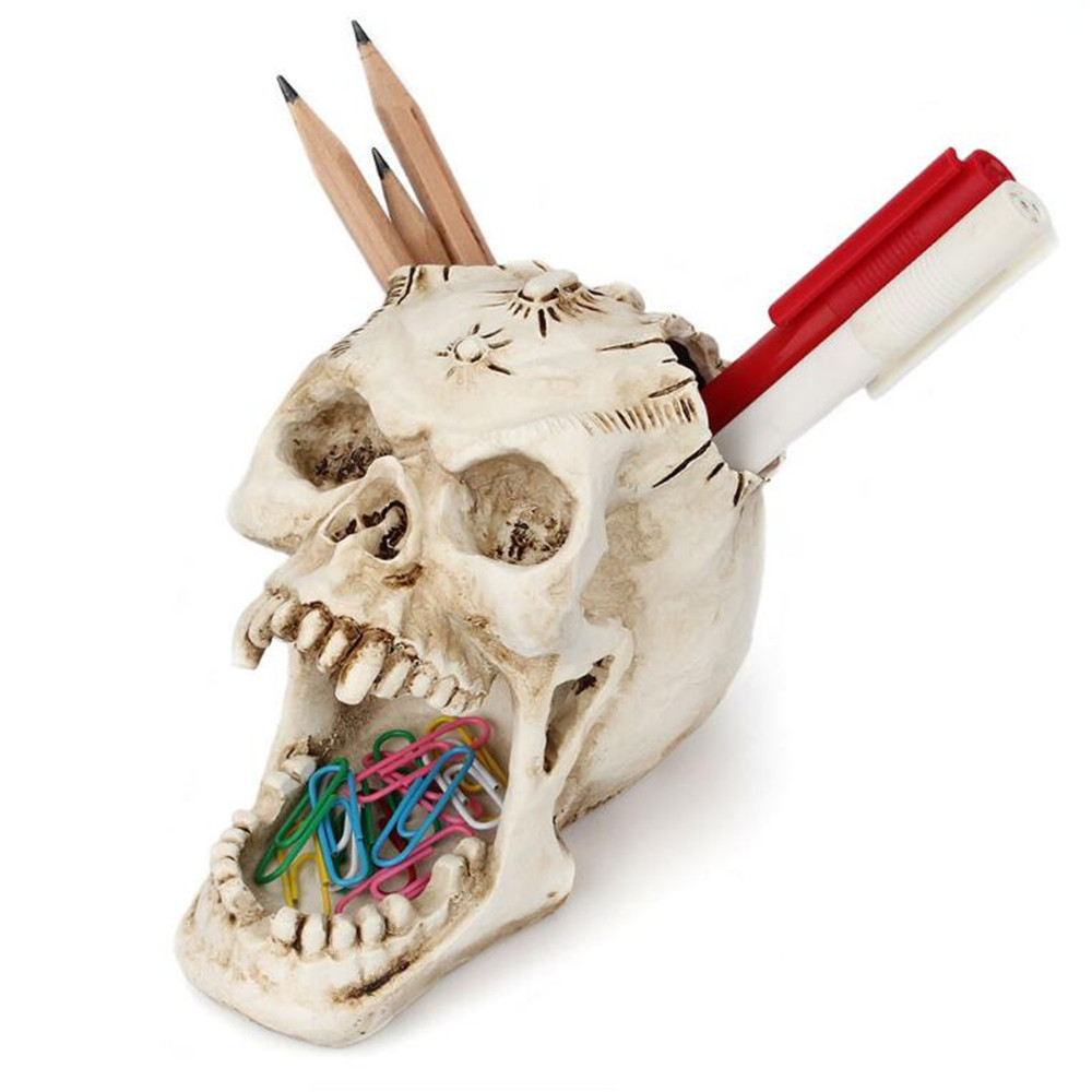 Resin Craft Skull Head Jewellery Box Desktop Storage Box Container Sculpture Ornament Pencil Pen Holder Home Decoration