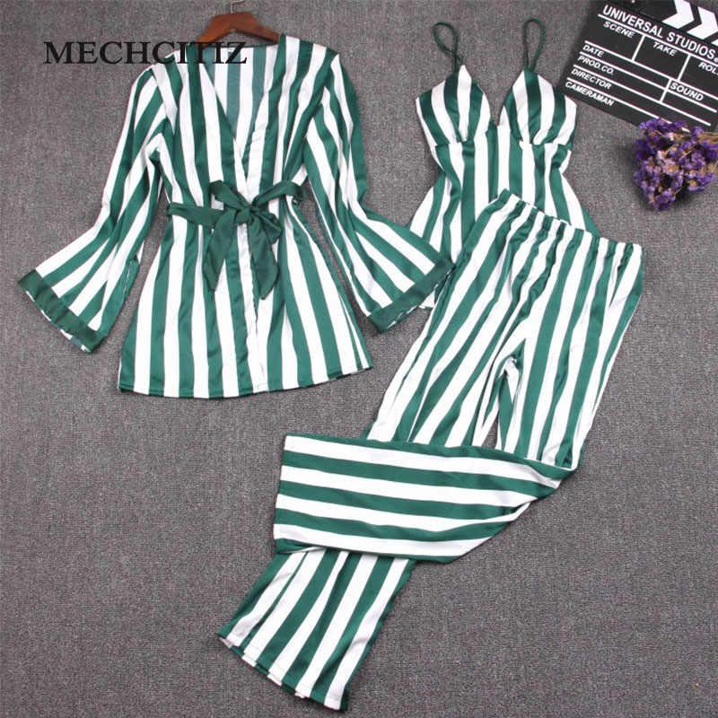 ... MECHCITIZ 2019 Top New Pajamas Set For Women Vest Coat pants 3 Pieces  Striped Homewear Clothes ... ad149c809