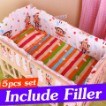 5PCS Infant Baby Cot Set Baby Crib Bedding Set With Bumper Baby Crib Sets Kids Crib Bumper Baby Bed Bumper 90x50cm CP01S