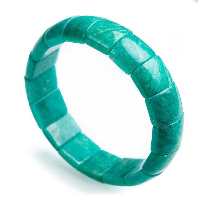 Natural Genuine Green Amazonite Stone Stretch Bracelet For Women Rectangle Beads Jewelry Charm Bracelet Femme