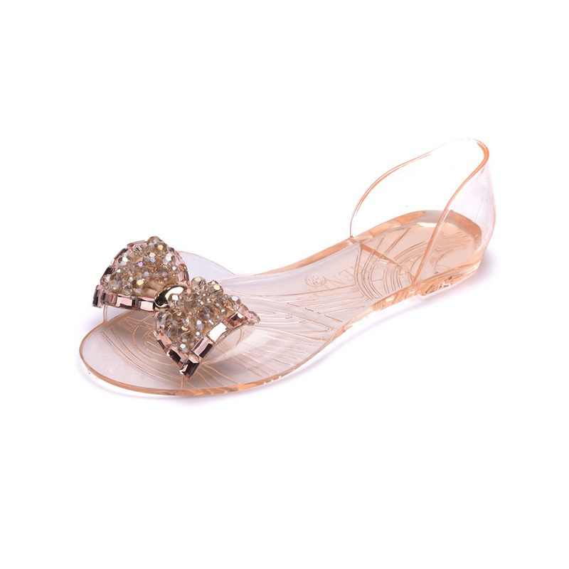 bf5ade16207b Women Bowtie Crystal Summer Sandals Jelly Shoes Transparent Female Bling  Casual Peep Toe Beach Shoes Flats