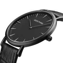 Brand Luxury Quartz watch men Business Casual Black Japan quartz-watch genuine leather ultra thin clock