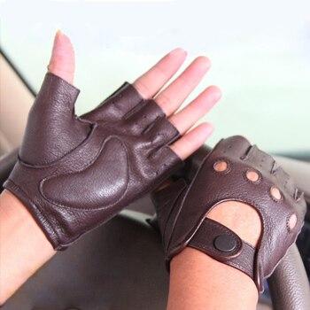 Hot Sale New Leather Spring And Summer Gloves Men Driving Non-Slip Half Finger Imitation Deerskin M044W-5