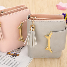 hot deal buy fashion short wallets women pu leather small wallets and purses tassel coin pocket card holder mini wallets fold coin purse