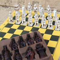 Antique Chess Large Chess Pieces Leather Chessboard Terracotta Resin Chess Pieces Character Modeling Parent-child Gifts Yernea