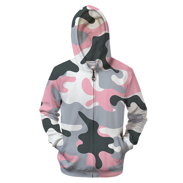 a808171f3fa36 Pink Camo 3D Zipper Hoodie Men S Clothing Women Zip Sweatshirt Casual  Tracksuit Groot Hoody Pullover