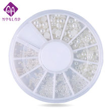 400pcs/set Mix 4sizes White Natural 3d Pearl Nail Art, Flatback Rhinestone Nail Beads Wheel,DIY Phone Beauty Nail Decoration(China)