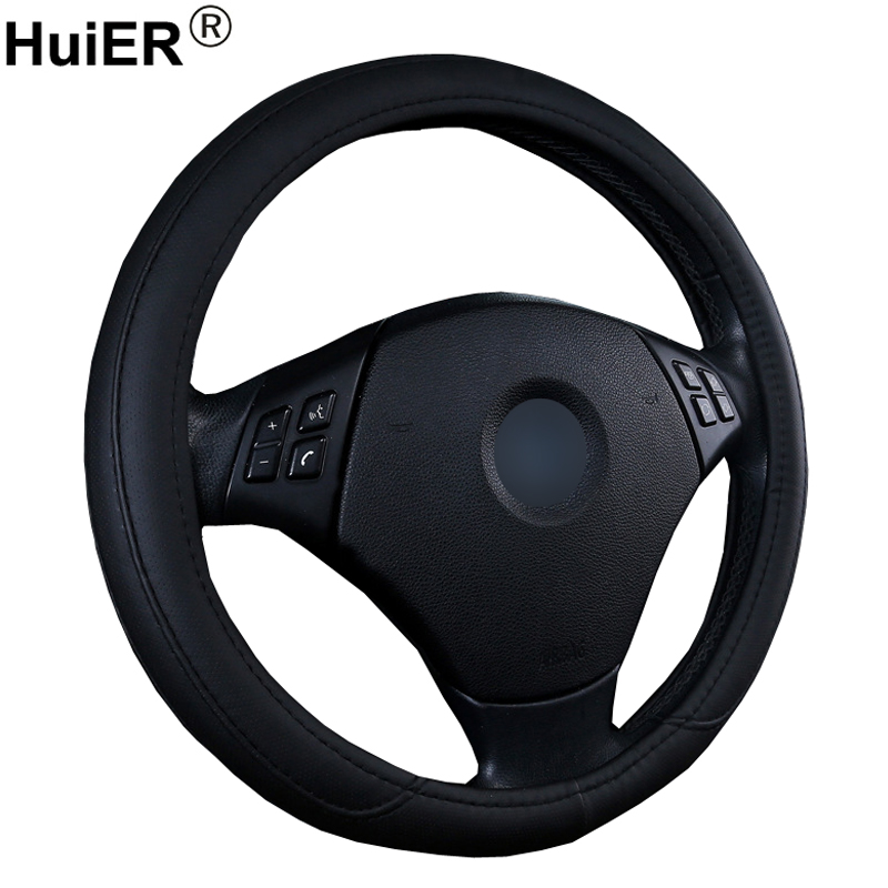 HuiER Car Steering Wheel Cover Soft PU Leather Anti-Slip For 37-38CM/14.5-15 Inches Auto Steering-wheel Steering Wheel Protector
