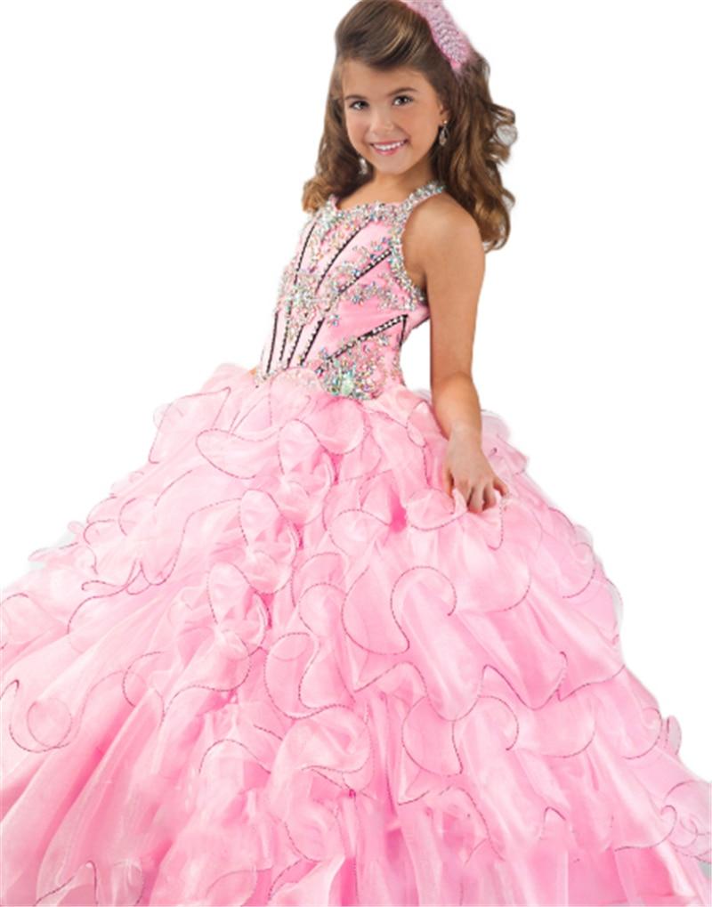 selezione premium d7b82 c3efb US $49.9  2016 perline ruffle organza rosa prima comunione abiti per  bambine abiti di sfera ragazze abiti pageant in 2016 perline ruffle organza  rosa ...