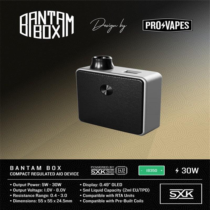 Новое поступление подлинный SXK дизайн Bantam мини бокс мод 2 мл/5 мл Емкость 30 Вт черный серебристый цвет 18350 BB мини мод vape испаритель - 6