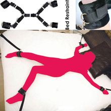 Fuzzy under bed Sex bondage leg restraint harness straps Handcuffs Ankle cuff set Adult Fetish Game Toy kit for men women couple