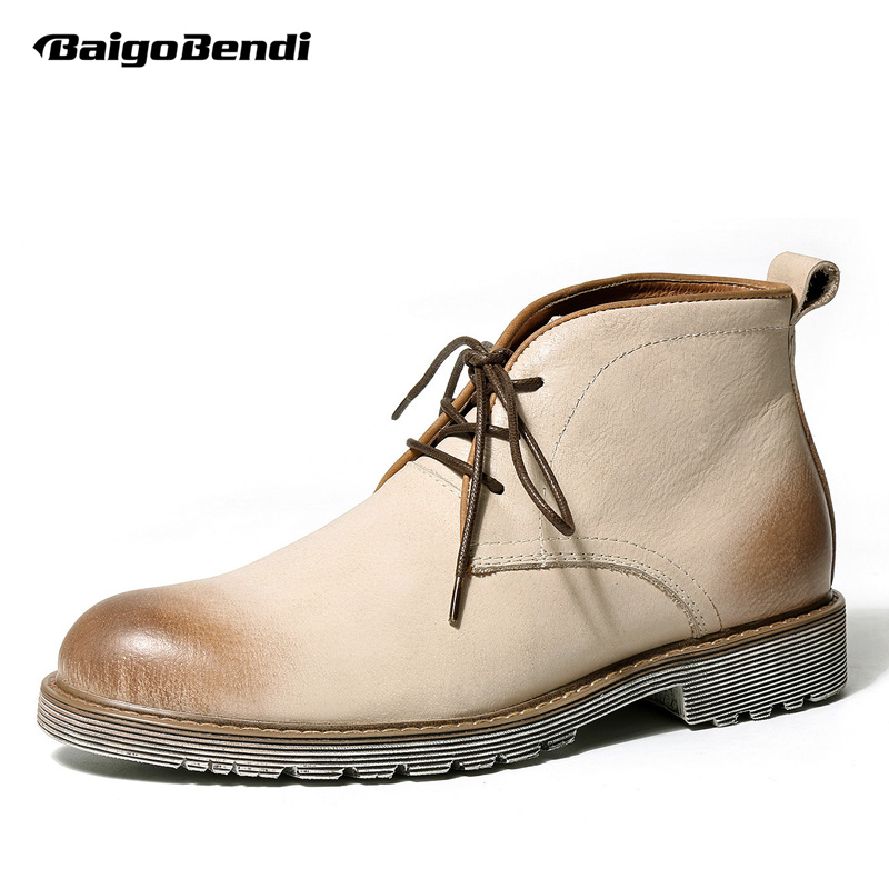 цена Recommend Genuine Leather Mens Boots Round Toe Work Safety Soliders Desert Boots Man Winter Shoes Casual Oxfords
