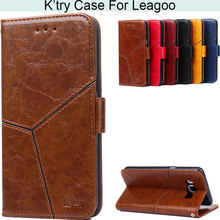 K'try Geometry Style Pu Leather Phone Case For Leagoo M8 S8 Kiicaa Power S8-Pro M7 M9 T5 Z5 Z7(China)
