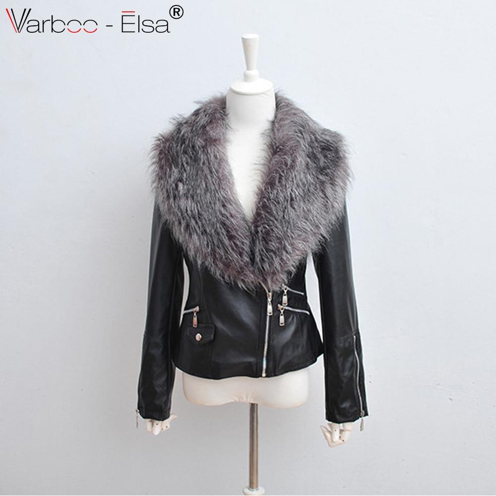 95875ddeedf6e Vestes Pu Chaud ivoire Noir D hiver En Faux blanc Noir Cuir Manteau Varboo  Plus Femmes Veste elsa Fourrure ...