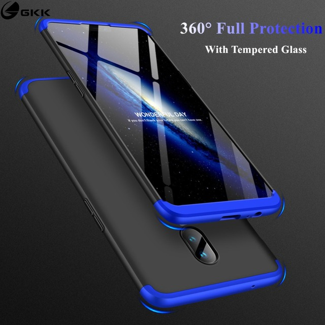 GKK Case for Oneplus 6 Case 360 Full Protection Shockproof Matte Comfortable Feel Hard PC 3 In 1 for oneplus6 Cover Free Glass