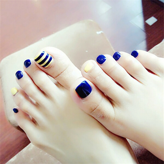 New Fashion Striped Blue Toe Nail Sticker Decal Water Transfer