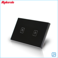 US Standard Remote Touch Switch Black Crystal Glass Panel 2 Gang 1 Way Remote Control Wall