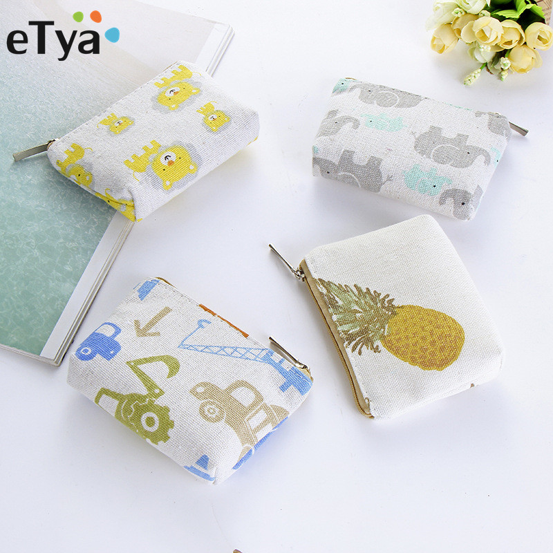 eTya Coin Bag Canvas Women Female Small Mini Purse And Wallet Kids Girl Party Gift Cute Coin Key Money Change Holder Case Pouch