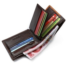 Genuine Leather Men Wallets Coin Pocket Zipper with Coin  Purse