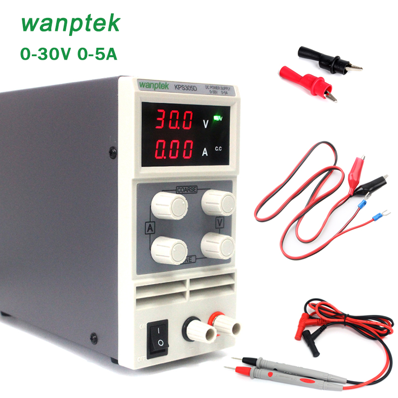 DC Power Supply Variable, wanptek KPS305D Adjustable Switching Regulated Power Supply Digital, 0-30 V 0-5 A with Alligator Leads yh 1502dd 15v 2a adjustable variable dc power supply