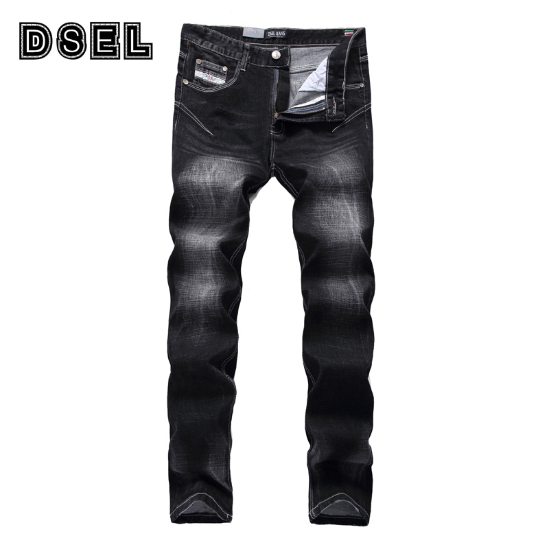 Black Color Denim Jeans Men Elastic Pants Slim Fit DSEL Brand Skinny Jeans High Quality European American Fashion Stripe Jeans