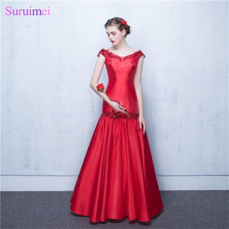 Abiti Da Sera Lunghi.Elegant Evening Dresses Abiti Da Sera Lunghi 2017 V Neck Red Satin
