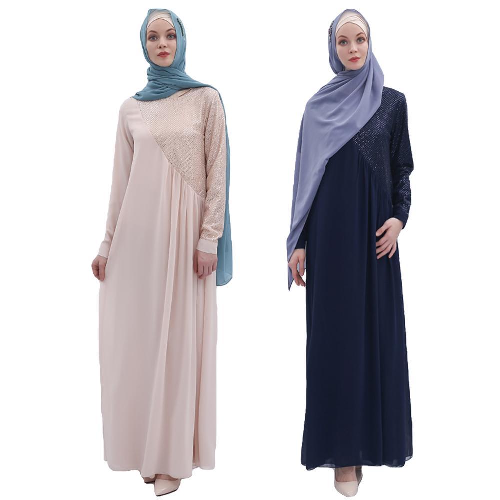 Dubaï Robe musulmane femmes Sequin Patchwork en mousseline de soie Abaya caftan islamique longue Maxi Robe Jilbab Robe de soirée lâche Qatar Oman