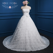 Rose Moda 3D Flowers Ball Gown Lace Up Back Wedding Dresses