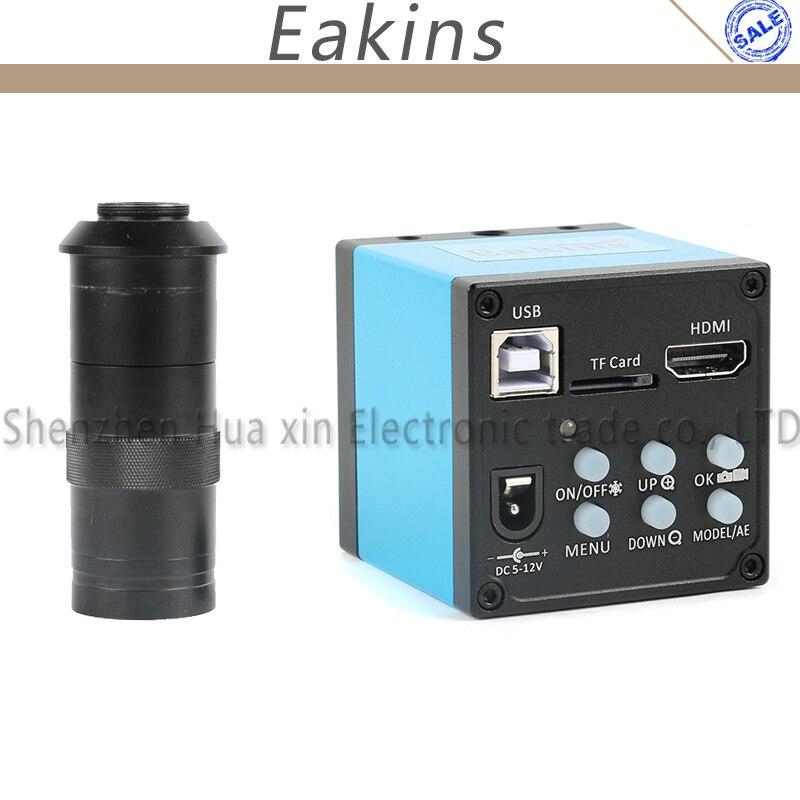1080P 20MP HDMI USB промышленный видео микроскоп камера TF карта видео рекордер ИК пульт дистанционного управления + 100X C-mount объектив для PCB