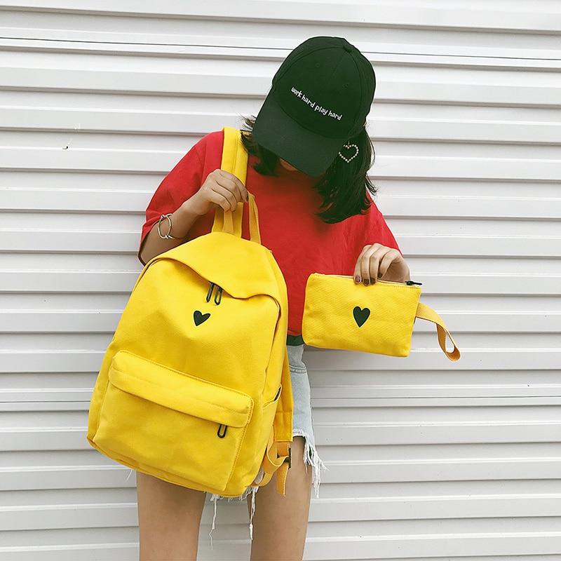 HTB10NkuHeuSBuNjSsplq6ze8pXam Moon Wood Women's Backpack Canvas Printed Heart Yellow Backpack Korean Style Students Travel Bag Girl School Bag Laptop Backpack