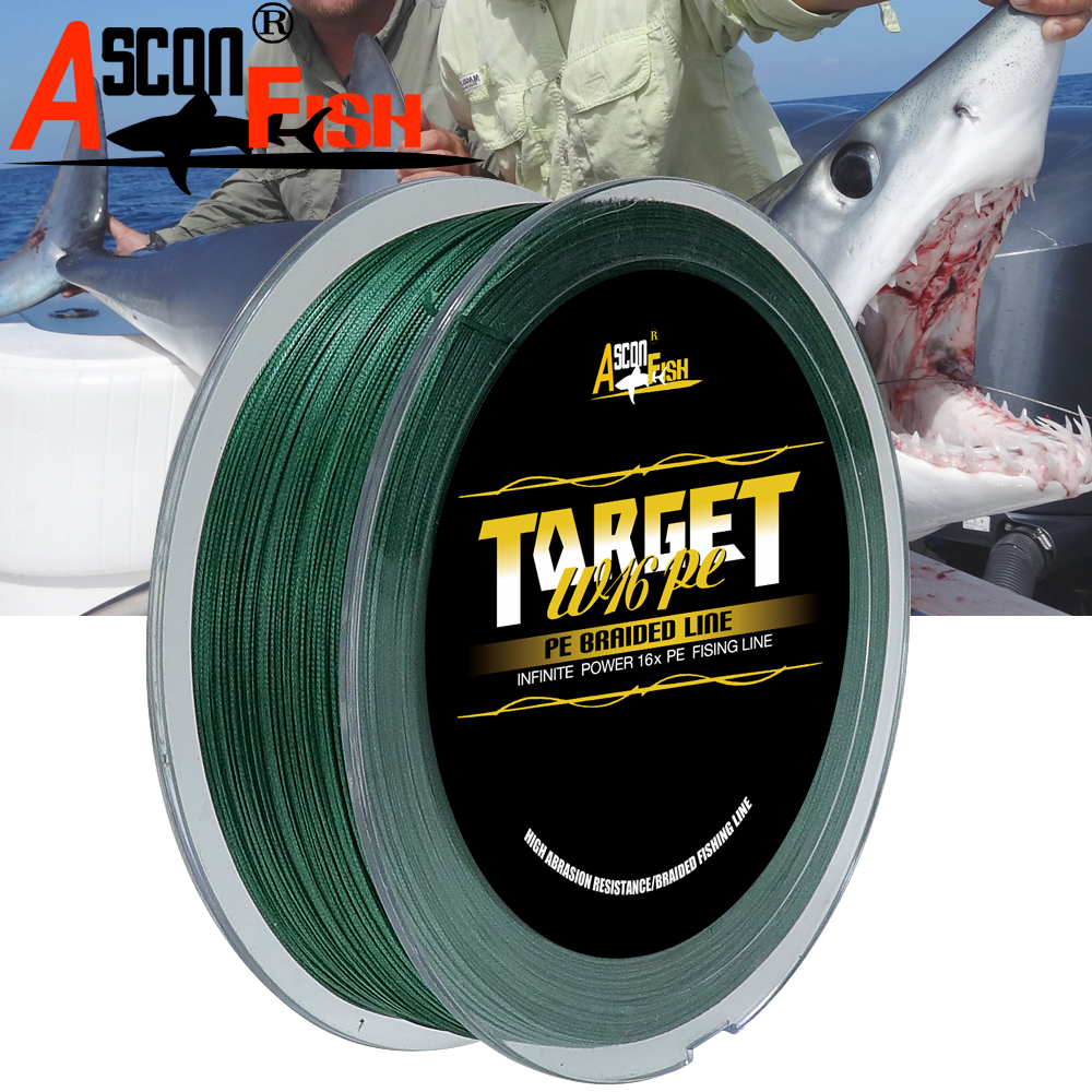 Ascon Fish 16 Strands Braided Fishing Line 500m Multifilament Fishing Line Fishry Equipment PE Rope Tippet 20-500LB