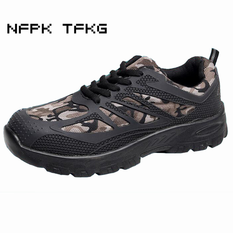 new fashion mens breathable steel toe cap working safety shoes camouflage big size plate platform tooling security boots lace-up