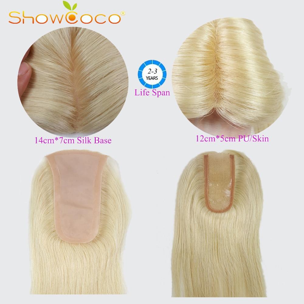 Base de seda cabelo humano topper loira plutônio 100% cabelo virgem showcoco eslavo cabelo pedaço 150% densidade da pele grampo no cabelo de peruca para mulher
