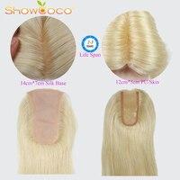 Silk Base Human Hair Topper Blond PU 100% Virgin Hair ShowCoco Slavic Hair Piece 150% Density Skin Clip in Toupee Hair For Women