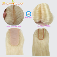 Silk Base Human Hair Topper Blond PU 100% Virgin Hair ShowCoco Slavic Hair Piece 150% Density Skin Clip in Toupee Hair For Women