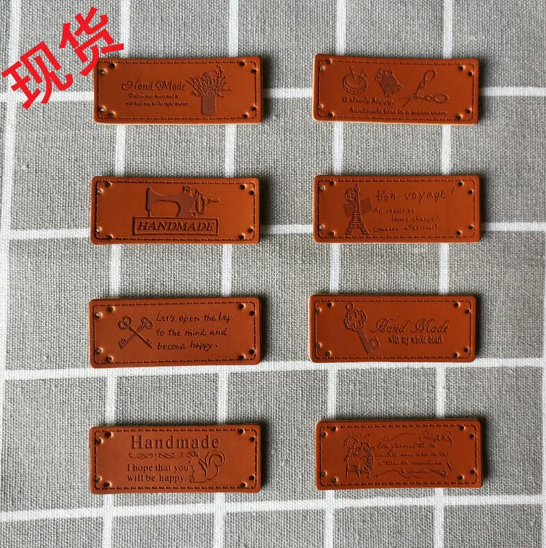 20pcs//set Handmade PU Leather Tags DIY Sewing Craft Handmade Garment Labels