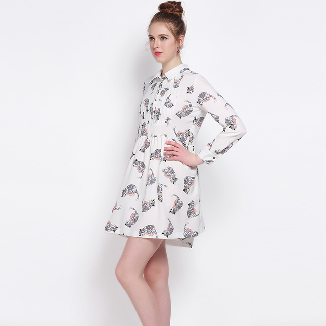 274f1b932f069 US $28.41 |MY MAYAASOS 2017 Spring Fashion Dress Women Casual Straight  Kawaii Animal Print Button Preppy Style Long Sleeve Mini Dress-in Dresses  from ...